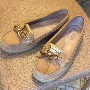 Sperry Top-sider tan w gold metallic accents